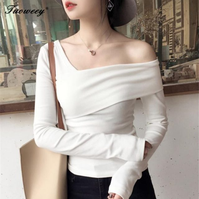Long Sleeve Ruffle t-shirts Sexy Off Shoulder Tops 2018 New Women Shirt Slash Neck Shirts Robe Femme Solid Summer Blusas