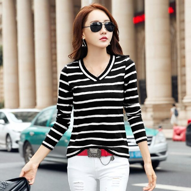 New Summer style 2018 Korean Big Size Casual Striped T Shirt Women LONG Sleeve Slim T-Shirt Tops For Women Clothing Plus Size
