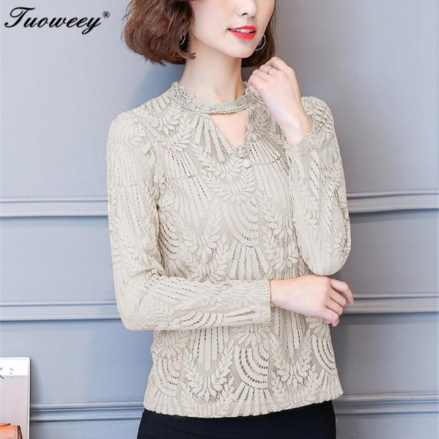 2018 Autumn Women Lace tops Long Sleeve Fashion office work T Shirts Crochet Blusas Casual Female Clothing Plus Size Femme Tops