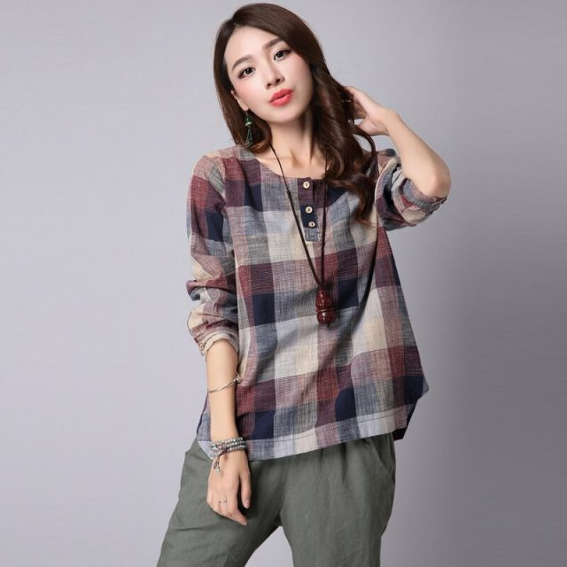 2019 spring Fashion Women t Shirts Casual loose plus size Clothes Long Sleeve Cotton and Linen Women Tops Plaid blusas Plus Size
