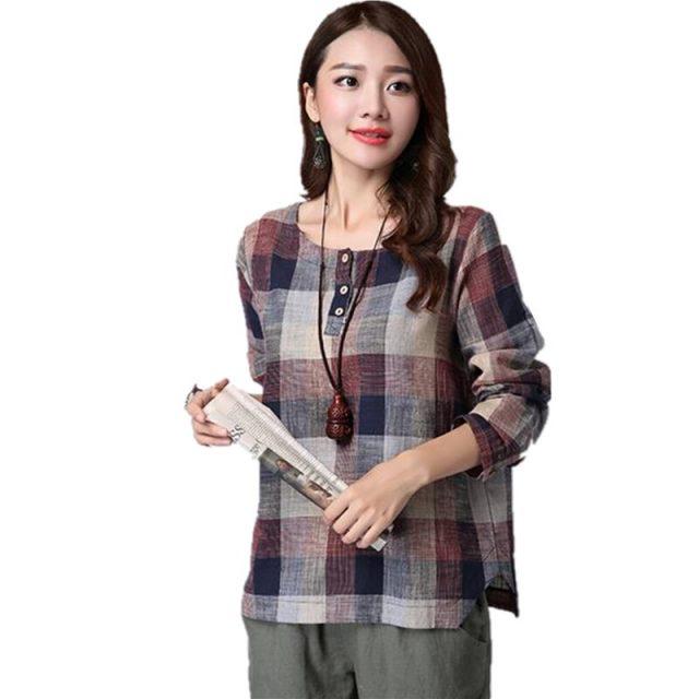 2019 spring Fashion Women t Shirts Casual loose plus size Clothes Long Sleeve Cotton and Linen Women Tops Plaid blusas Plus Size