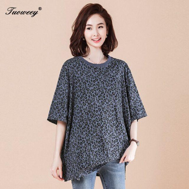 Elegant Short Sleeve Ladies Summer Sundress Ladies loose tops Plus Size Streetwear Fashion Women Leopard T shirt Dress