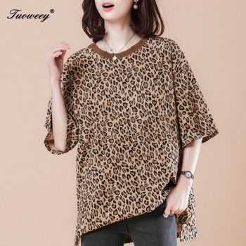 Elegant Short Sleeve Ladies Summer Sundress Ladies loose tops Plus Size Streetwear Fashion Women Leopard T shirt Dress