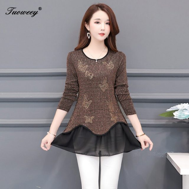 New Spring Blouse O-Neck 2020 spring Full patchwork Edge Lace Blouses Shirt Butterfly Flower long Sleeve Women Shirt Fashion