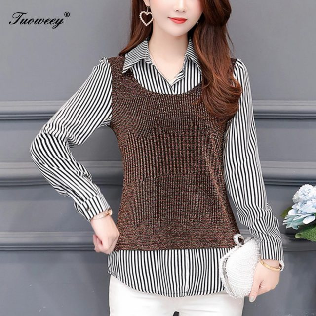 Fake Two Pieces Women Striped Patchwork Casual Blouses Shirt Long Sleeve Women Blouses Loose Shirt Lady Tops M-4XL