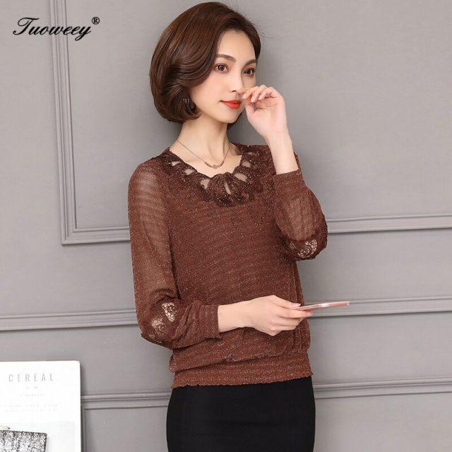 female Elegant long-sleeve Lace Blouses shirts 5XL Spring 2020 winter Plus size Women clothing lace Shirt Tops Cutout basic