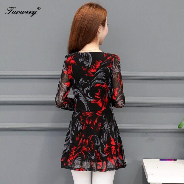 mujer de moda 2020 shirt Ladies Large Size Button Lace V Neck see through Long Sleeve blusa feminina elegant blouse women