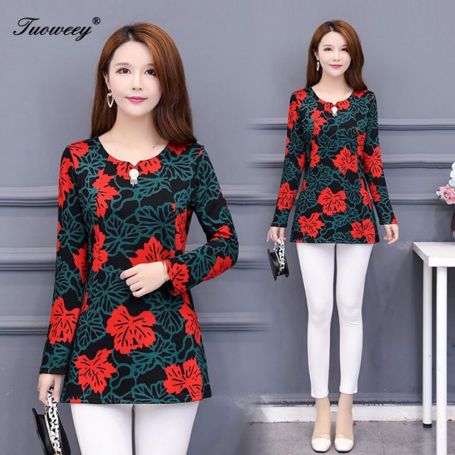 2020 New Fashion Women Tops And Blouses long Sleeve O Neck Korean Print Casual Office Work Lady 5XL Plus Size Shirts Blusas