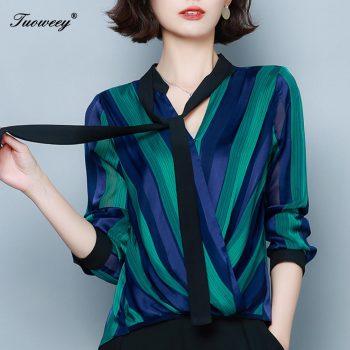 Chiffon women blouse shirt fashion 2020 plus size bow V-neck women's clothing sweet long sleeve feminine tops blusas
