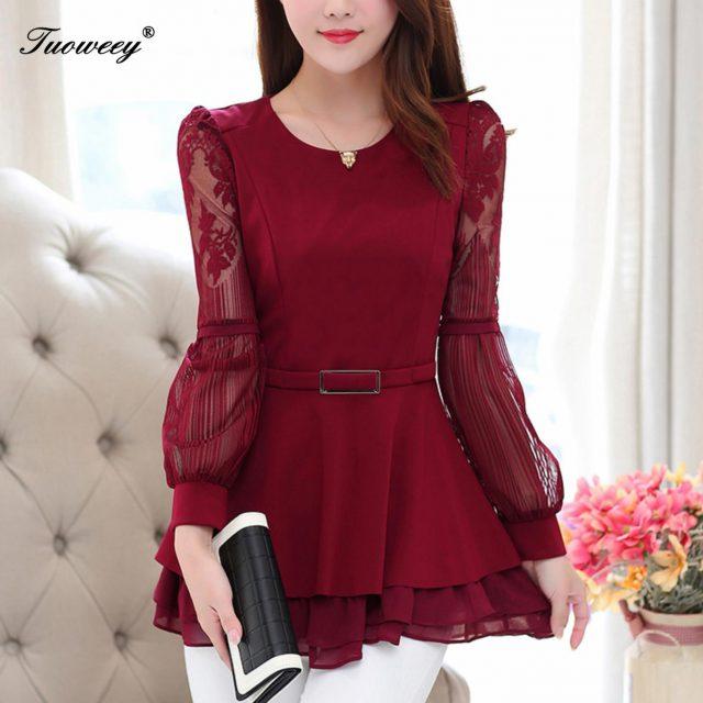 2019 New Sweet work wear Vintage blouses 4XL plus size Autumn spring style Shirt Soft Ruffles patchwork Lantern Sleeve Shirt Top