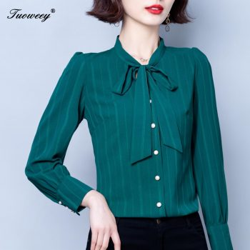 Women Stripe Shirts Long Sleeve Casual Lady Office Chiffon Shirt Autumn Blouse Loose Button Mujer Blusas Top Plus Size