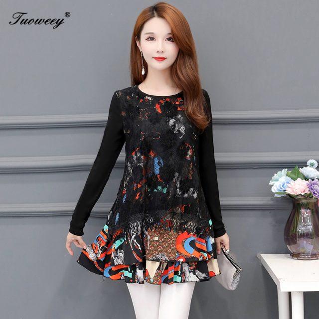 2020 Spring flower Women's Sexy elegant plus size Mesh Blouse Long Sleeve loose Shining Elegant Shirt Fashion Women Tops