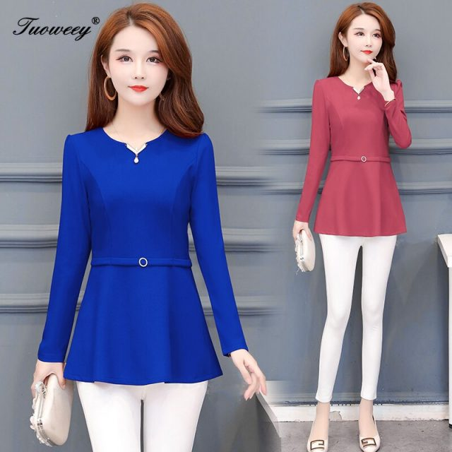 Fashion Women red spring Shirt Autumn Slim Simple Button Elegant Blusas Long-Sleeved Shirts Solid Color Shirts Tops 5XL