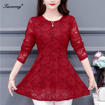 4XL Women clothing floral hollow out Autumn lace Shirt Tops red black basic female Elegant long-sleeve Lace Blouses shirts