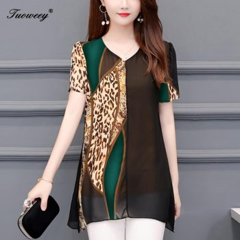 4XL summer leopard loose blouse for women 2019 womens clothing print chiffon blouse office ladies tops womens tops and blouses