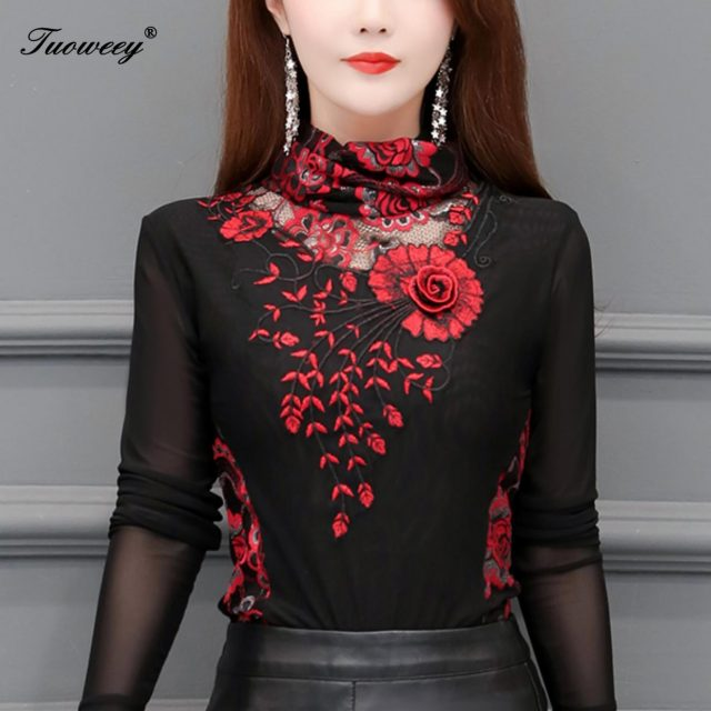 Hollow Out Women Spring Autumn Style Lace Blouses Shirts Casual Long Sleeve Patchwork Spliced Turtleneck Blusas Tops