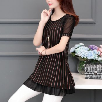 womens tops and blouses Short Sleeve women summer tops print striped Chiffon Blouse shirt plus size office blouse women
