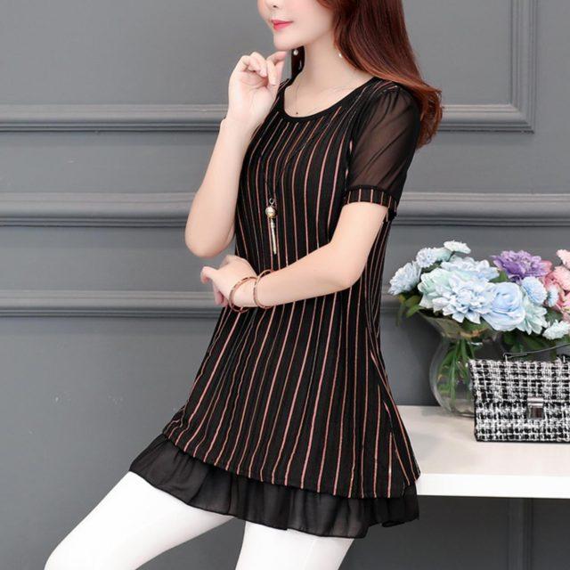 womens tops and blouses Short Sleeve women summer tops print striped Chiffon Blouse shirt plus size office blouse women