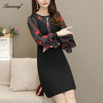 Women Autumn Printing A-line Dress Elegant Floral Printed elegant plus size Vestidos Lace Patchwork O-neck Winter Women Dresses