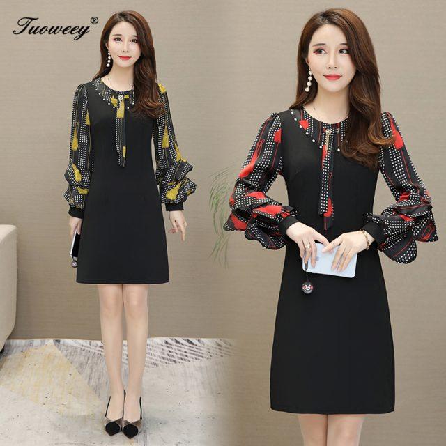 Women Autumn Printing A-line Dress Elegant Floral Printed elegant plus size Vestidos Lace Patchwork O-neck Winter Women Dresses