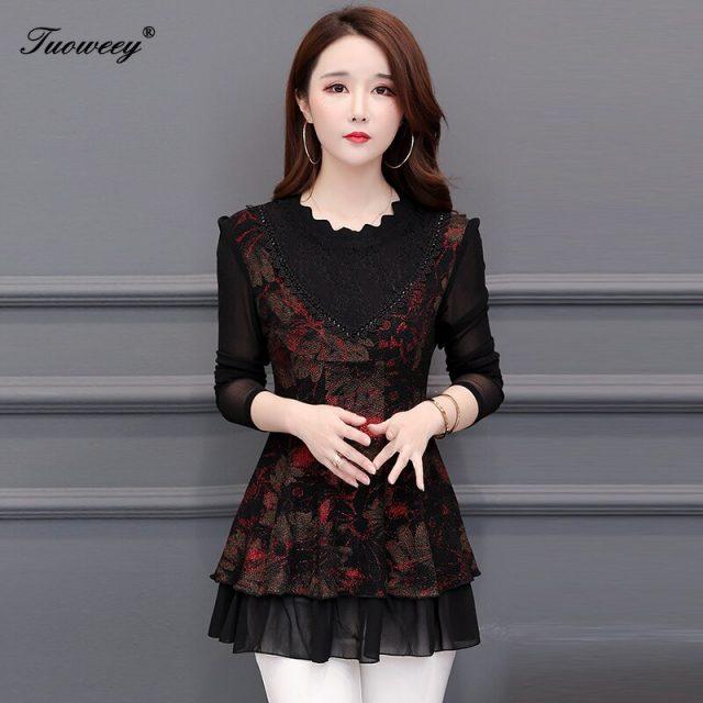 5XL Plus Size Women Blouses 2019 Fashion autumn see through long Sleeve Long Shirt Female Casual tops blusas femininas elegante