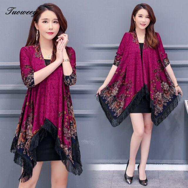 autumn Women Kimonos Blouse Tassel Long Sleeve Floral Chiffon Print Cardigans Longo Feminino Vintage Sunscreen Fringe Shirt Tops