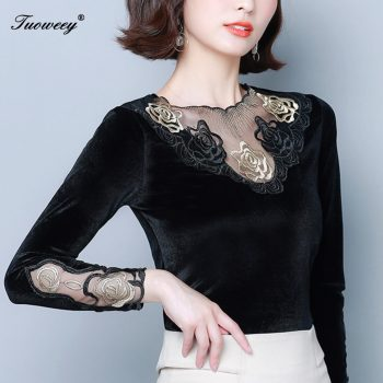 Women clothing floral hollow out Autumn lace Shirt Tops see through basic female Elegant long-sleeve Lace Blouses shirts
