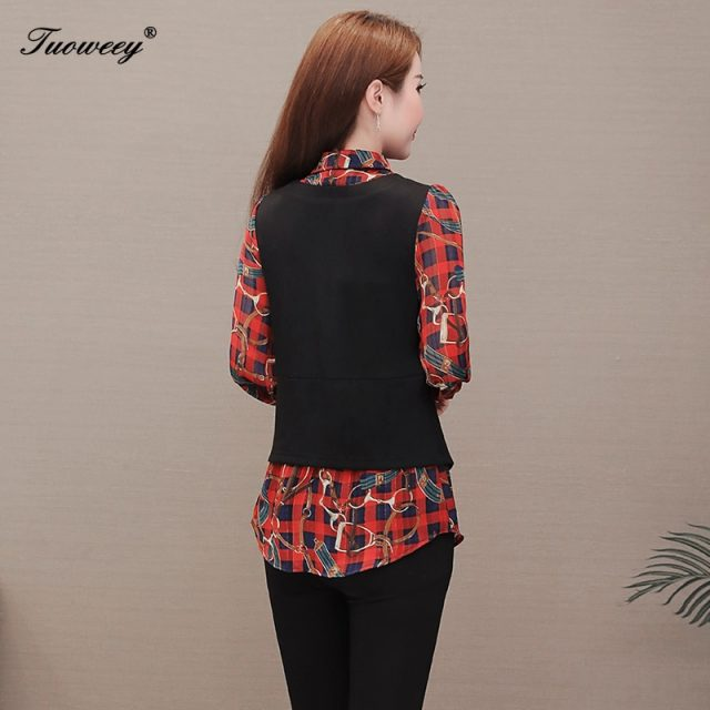 2020 Spring Autumn New Korean Casual Tops Fake Two Pieces Loose floral shirt long sleeve plus size 5XL Women blouse