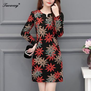 Plus size 5XL New Women Floral Print sexy Slim spring long Sleeve A-line Mini Dress Sexy O-neck Female Casual Sheath Dresses