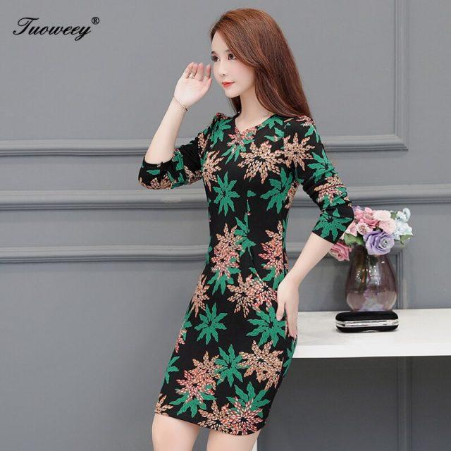 Plus size 5XL New Women Floral Print sexy Slim spring long Sleeve A-line Mini Dress Sexy O-neck Female Casual Sheath Dresses
