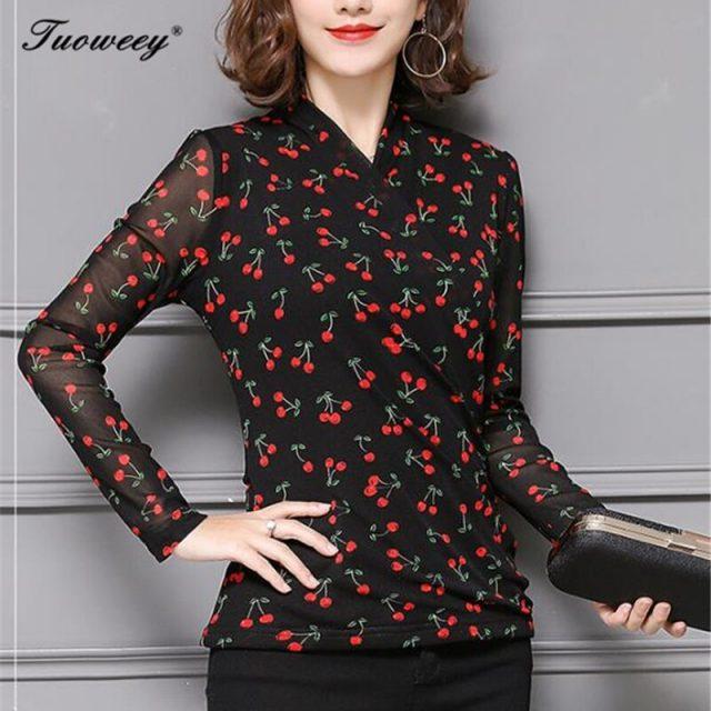 2019 Autumn Fashion Long Sleeve Chiffon Blouses Women Elegant Floral Blouse Office Work Wear shirts Women Tops Plus Size Blusas