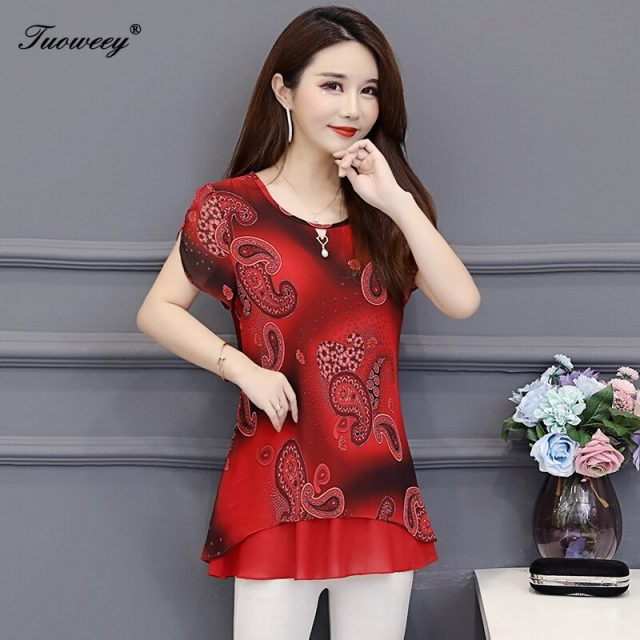 2019 New Arrival Fashion summer short sleeve floral casual Shirt Female Casual loose Color Plus Size elegant Printed Blouse