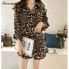 4XL Plus size long Autumn Women's Blouse Shirt Leopard Batwing Sleeve Loose Big Size Stand Shirts Blouses Clothes Fashion 2018