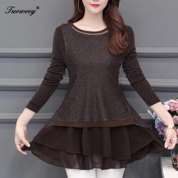 2019 Fashion autumn long Sleeve 5XL Plus Size floral Women Blouses loose patchwork Long Shirt Female woman clothes