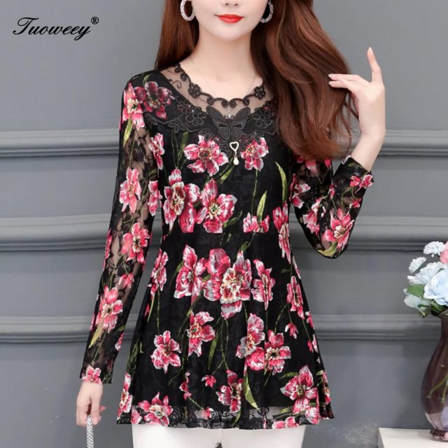 5XL Women clothing floral hollow out Autumn lace Shirt Tops see through basic female Elegant long-sleeve Lace Blouses shirts
