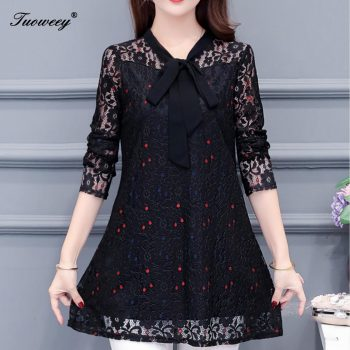 Women clothing floral red dot Autumn 4XL lace Shirt Tops see through basic female Elegant long-sleeve Lace Blouses shirts