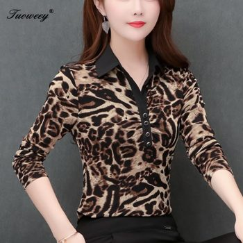 5XL Plus Size Women Blouses 2019 Fashion autumn V neck long Sleeve leopard Shirt Female Casual tops blusas femininas elegante