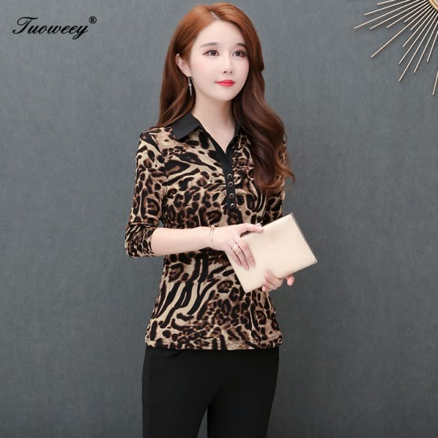 5XL Plus Size Women Blouses 2019 Fashion autumn V neck long Sleeve leopard Shirt Female Casual tops blusas femininas elegante