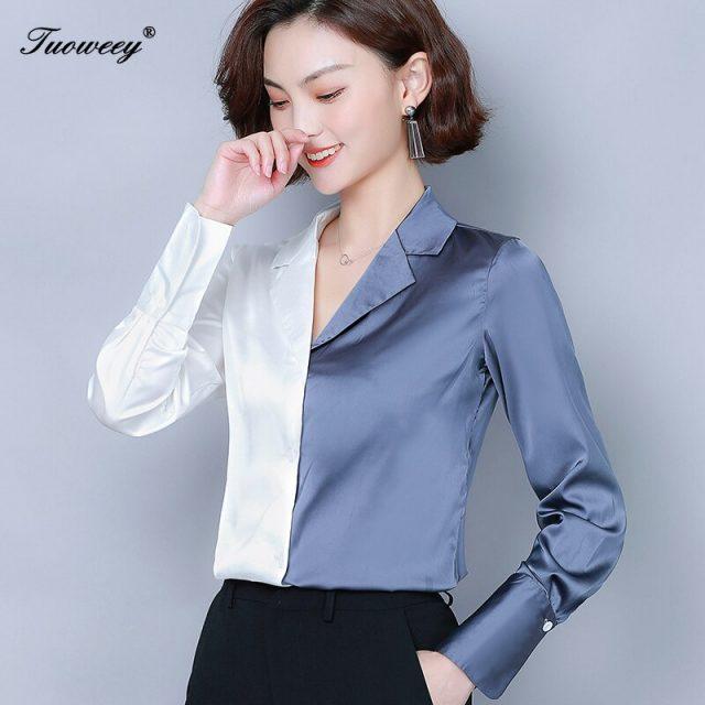2019 Women Spring Autumn Chiffon Blouses Tops elegant office OL Shirts Ladies lace Blouse Femme Long Sleeve Plus Size Blusas