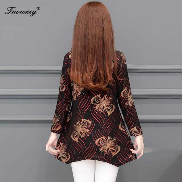 5XL plus size floral Women vintage Blouses 2019 Fashion autumn long Sleeve Long Shirt Female Casual tops camisas mujer elegant