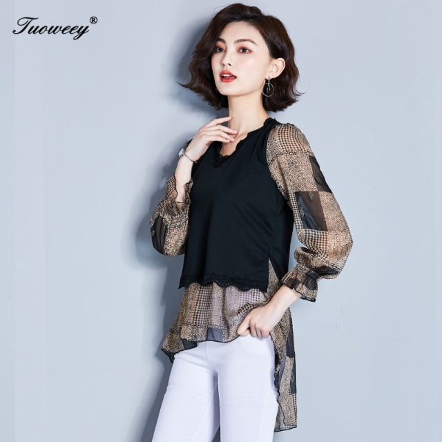 2019 New Arrival Fashion autumn long sleeveleopard long Shirt Female Casual loose Color Plus Size elegant irregular Blouse