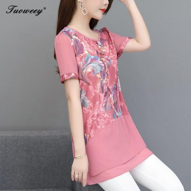 2019 short Sleeve Women's Shirts O Neck Floral Printed Casual blusas Long Tops Flower Fitness Women Top summer Plus Size 5XL