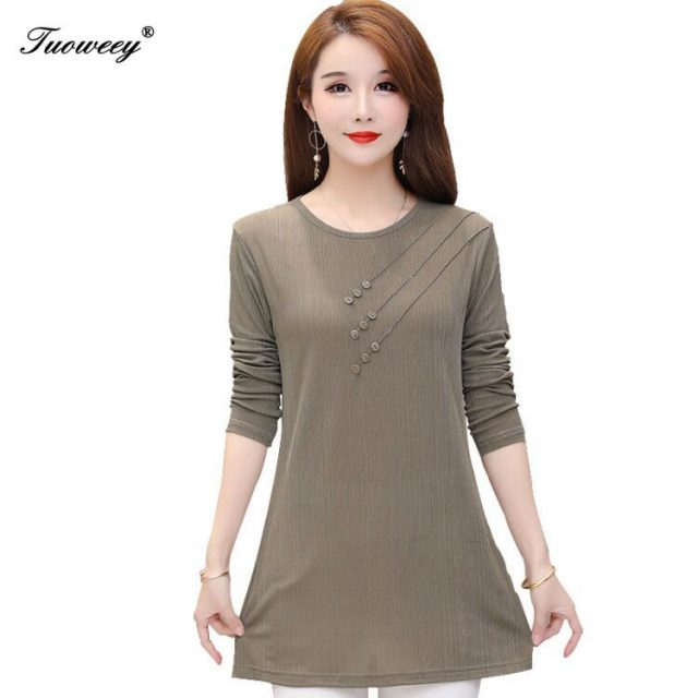 2020 Spring Autumn O-neck Blouse Shirts Women Elegant solid loose button Office Ladies long Sleeve Solid Blusas Tops S-5XL
