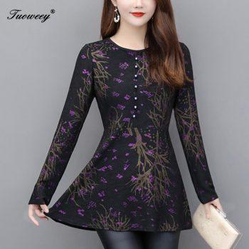 5XL plus size red Women vintage Blouses 2019 Fashion autumn long Sleeve Shirt Female o neck tops camisas mujer elegant