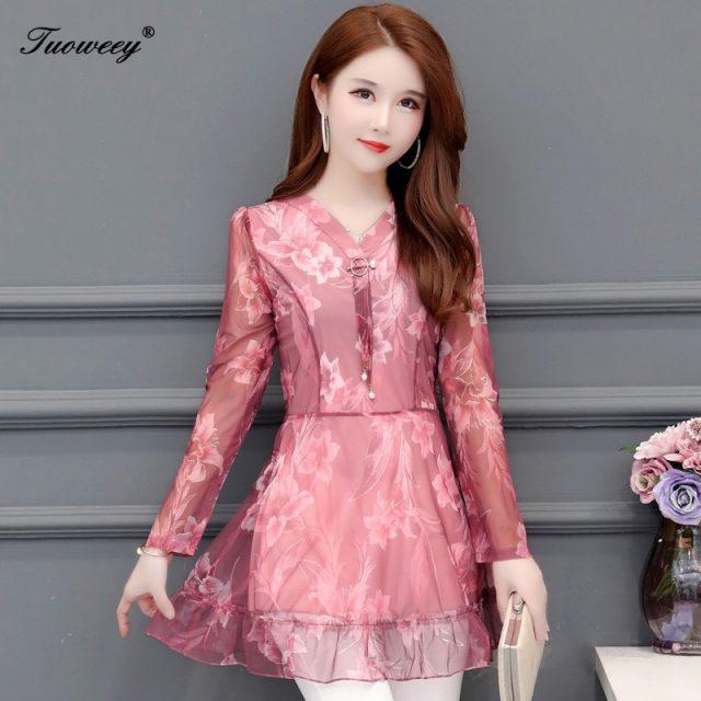 2019 Fashion autumn long Sleeve v-neck Long Shirt Female Casual tops 5XL Plus Size floral Women Blouses