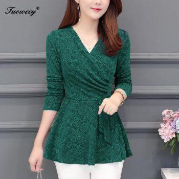 2019 spring long sleeve sexy V collar women green blouse shirt clothes blusas 5XL plus size women tops Fashion woman blouses