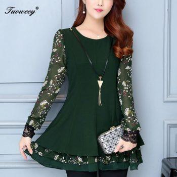 4XL plus size Autumn spring style Shirt 2019 Soft Ruffles patchwork Lantern Sleeve Shirt Top New Sweet work wear Vintage blouses