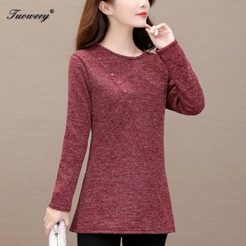 5XL Elegant Spring Metal Button Shirt Blouse Solid Autumn Long Sleeve Ribbed Blouses Women Sexy O-Neck Slim Pullover Tops Blusas