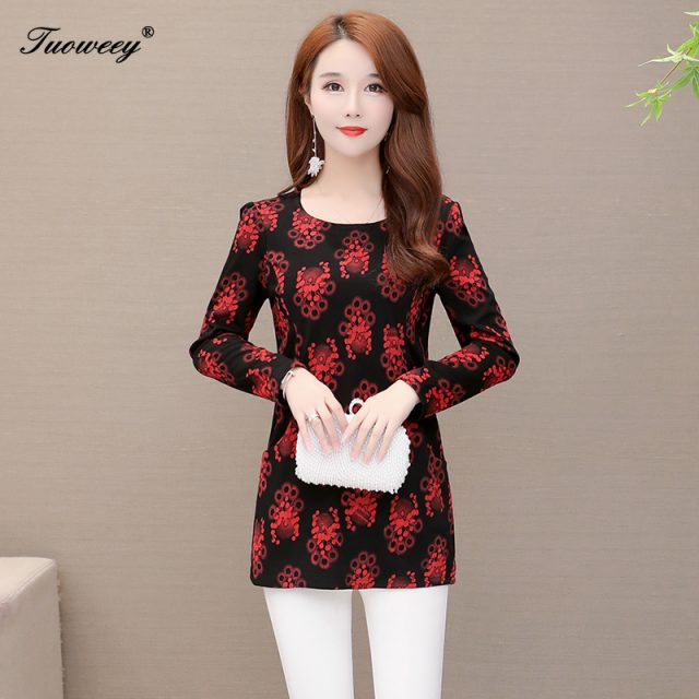 Women spring floral Blouses Top 2020 Plus Size 5XL Mother Clothes long Sleeve loose O-neck Floral Shirts Blusas