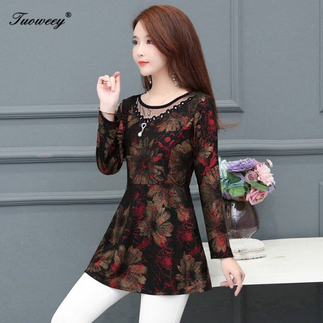 2019 Autumn Hollow out Lace Women Blouse Shirt Older Women Half sleeve flower printed see through Autumn female Women tops